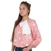 Elisabetta Franchi Girls Blouse Stars Bow Pink-offwhite