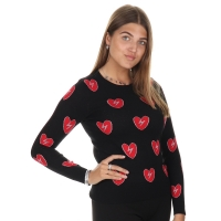 Jacky Luxury Gebreide trui Broken hearts Black