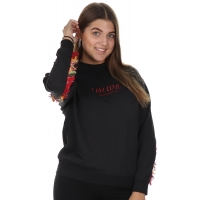 Sweater I Am Love Embroidery Black