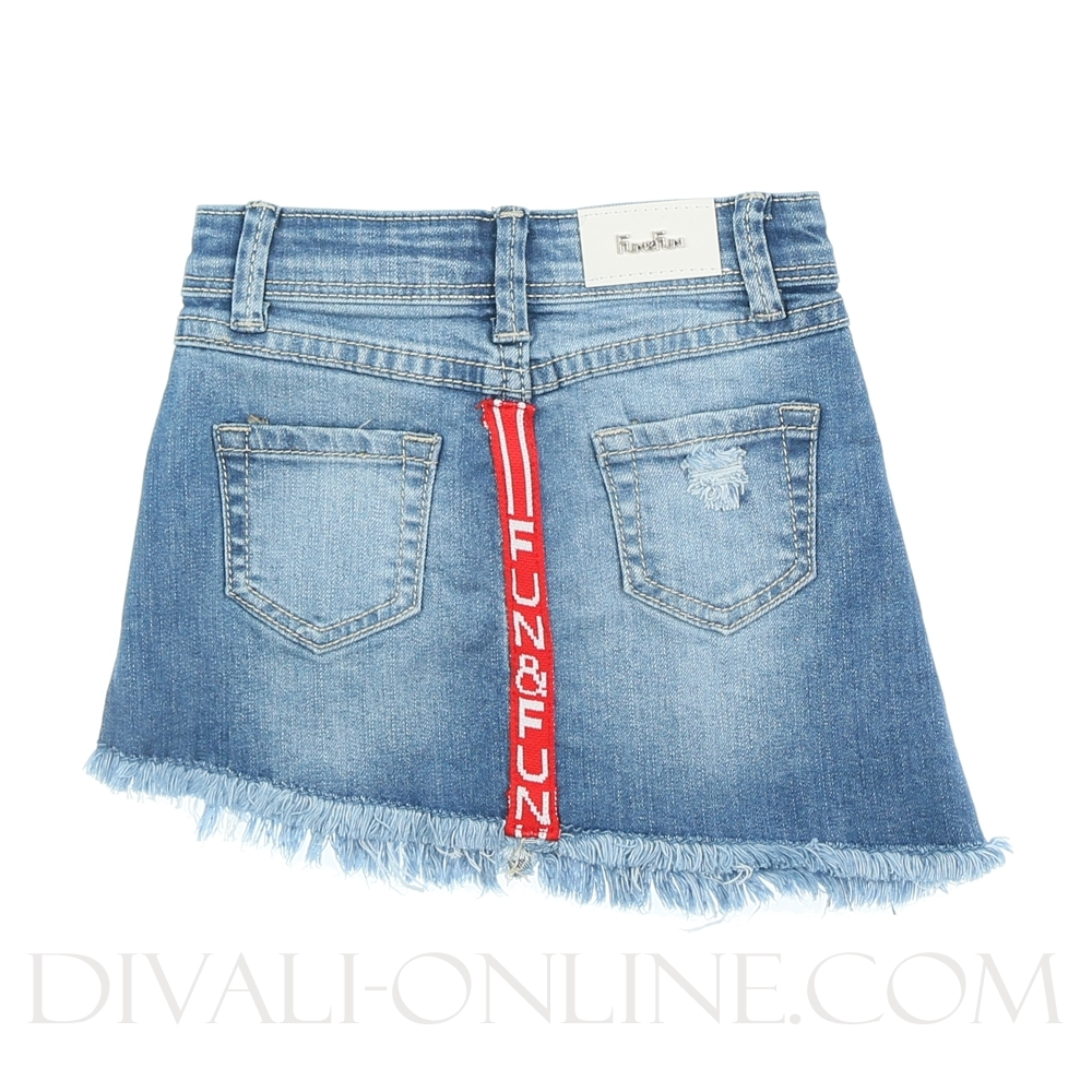 Skirt Red Stripe At The Back Denim Blue