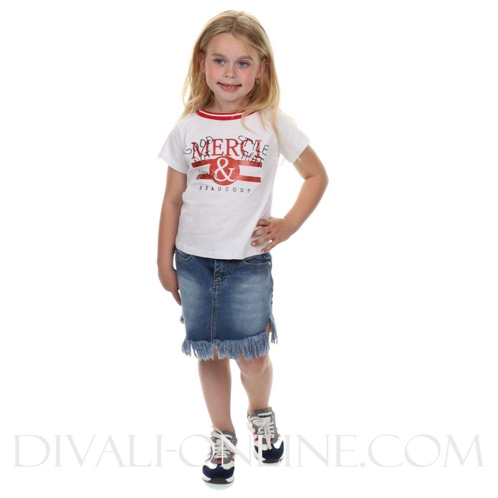 T-Shirt Merci Glitters Red White