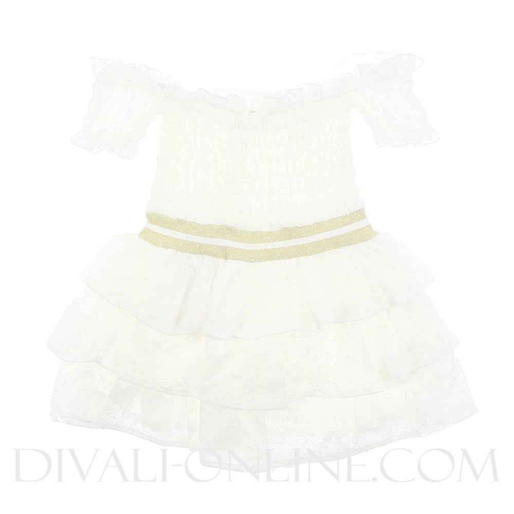 Off Shoulder Dress Ruffles Gold White