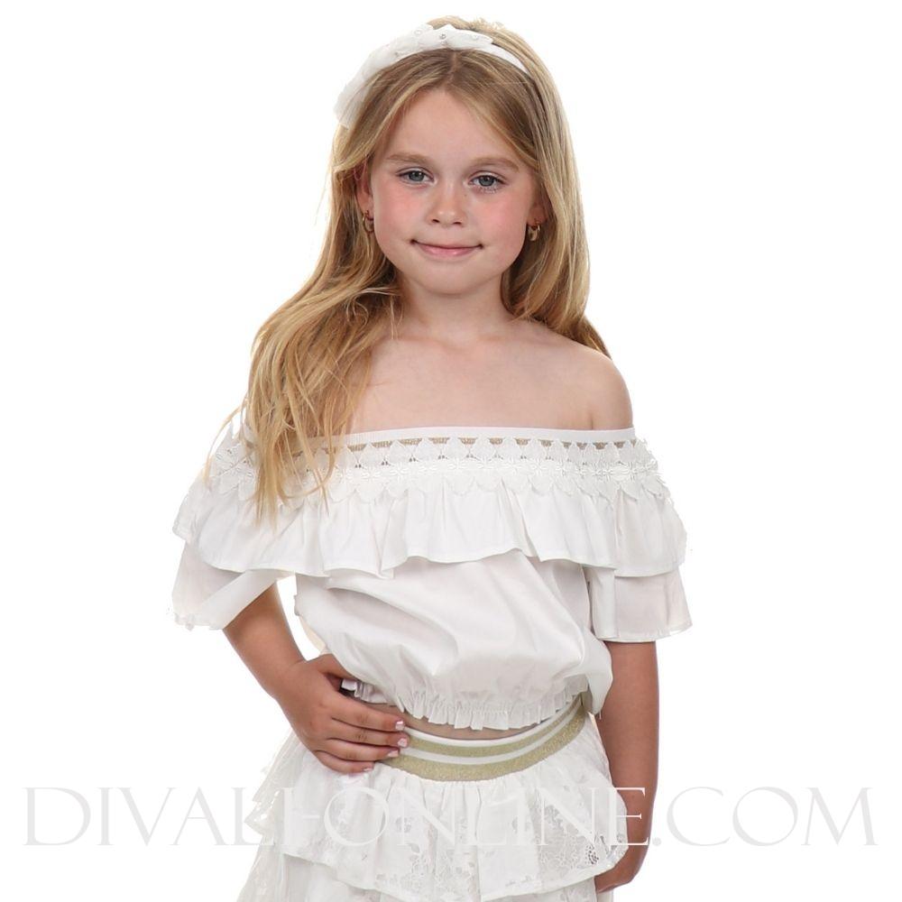 Top Off Shoulder White Silk