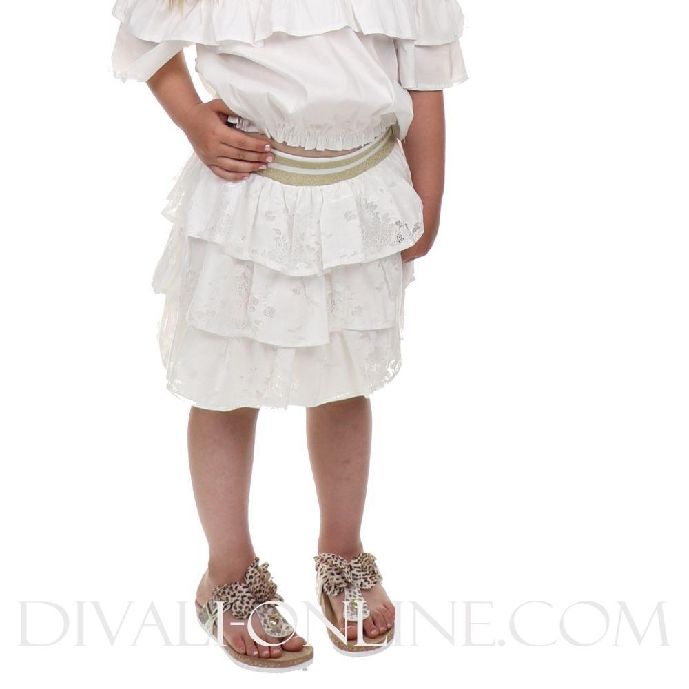 Skirt Ruffle Gold White
