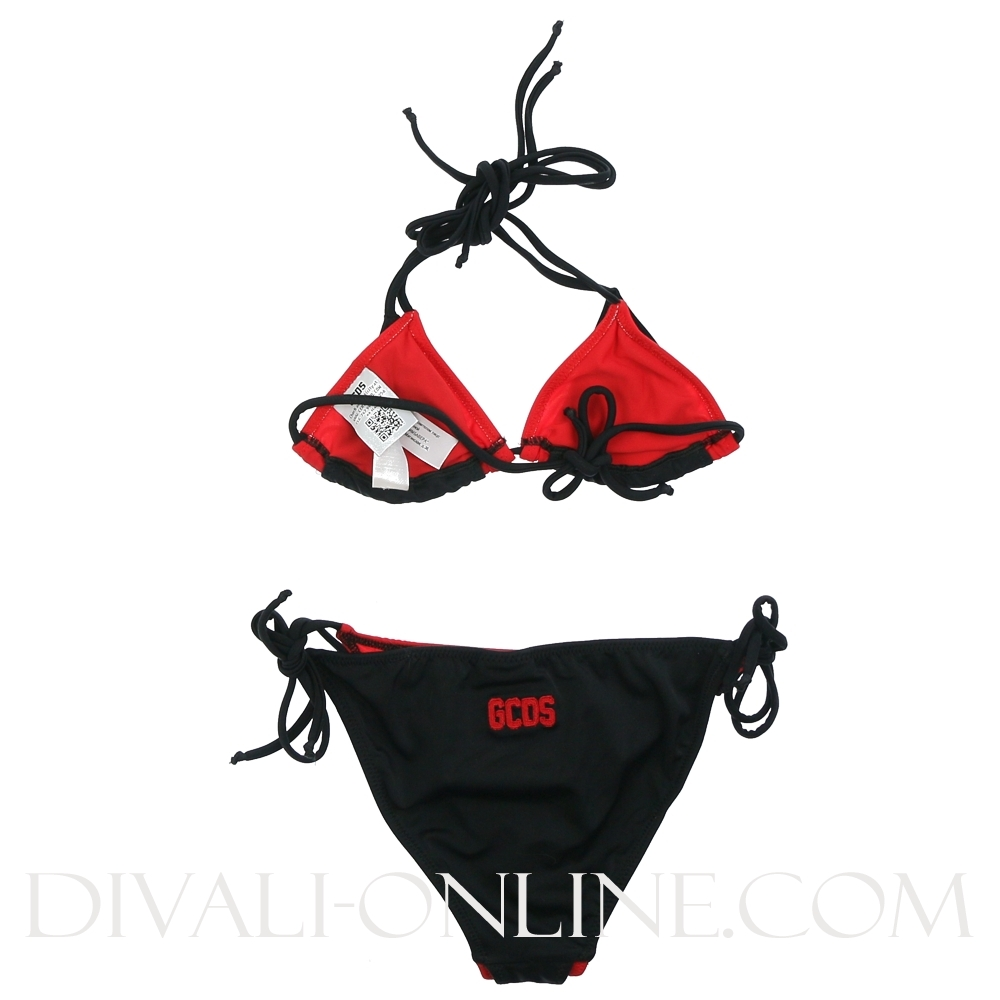 Triangle Bikini Black Red