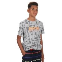 T-shirt All-over print Gemeleerd Grijs