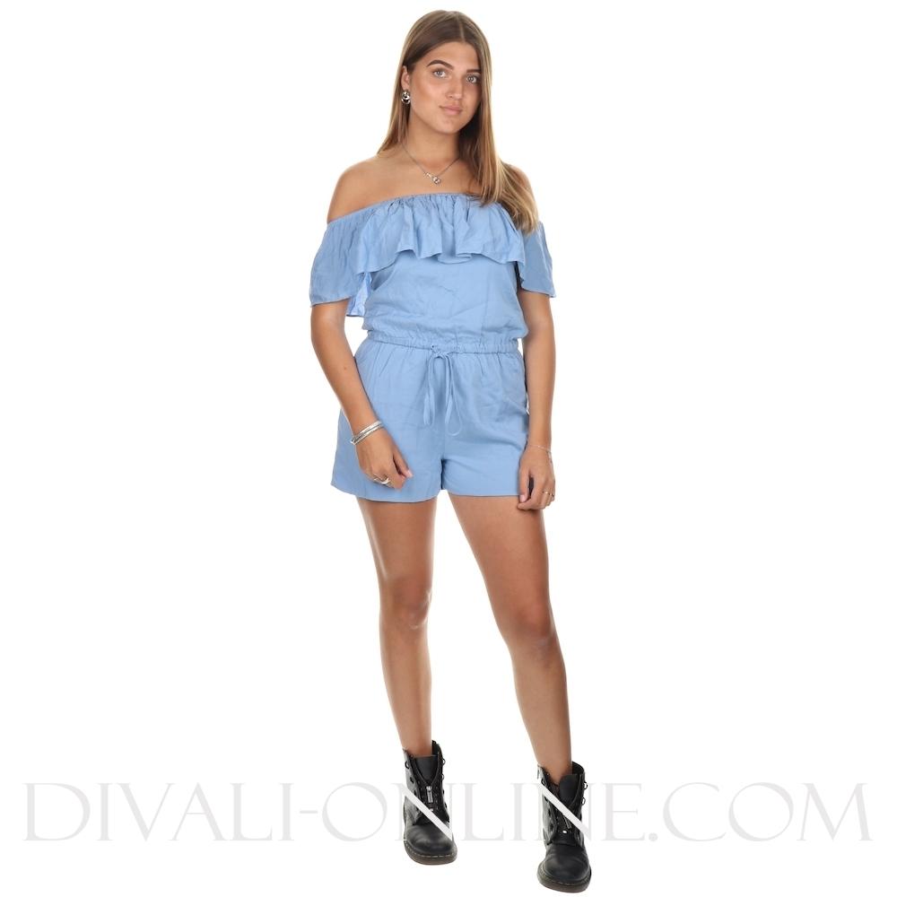 Jumpsuit Short Off Shoulder Blue