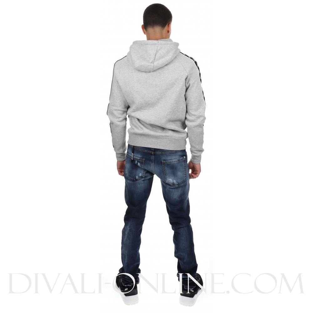 Hoodie 222 banda hurtado grey mel black white