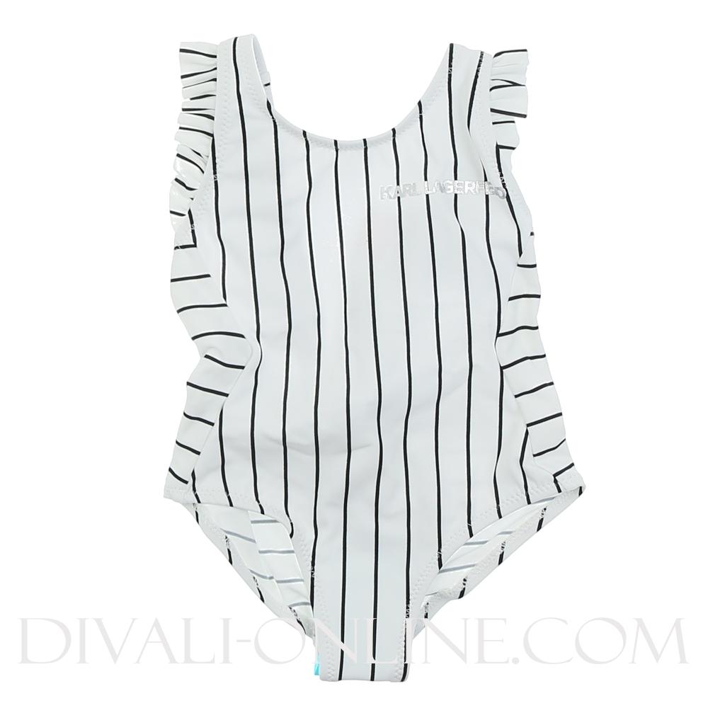 Swimsuite Ruffle Stripes Black White
