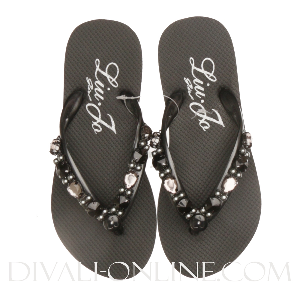 Teenslippers Diamonds Black