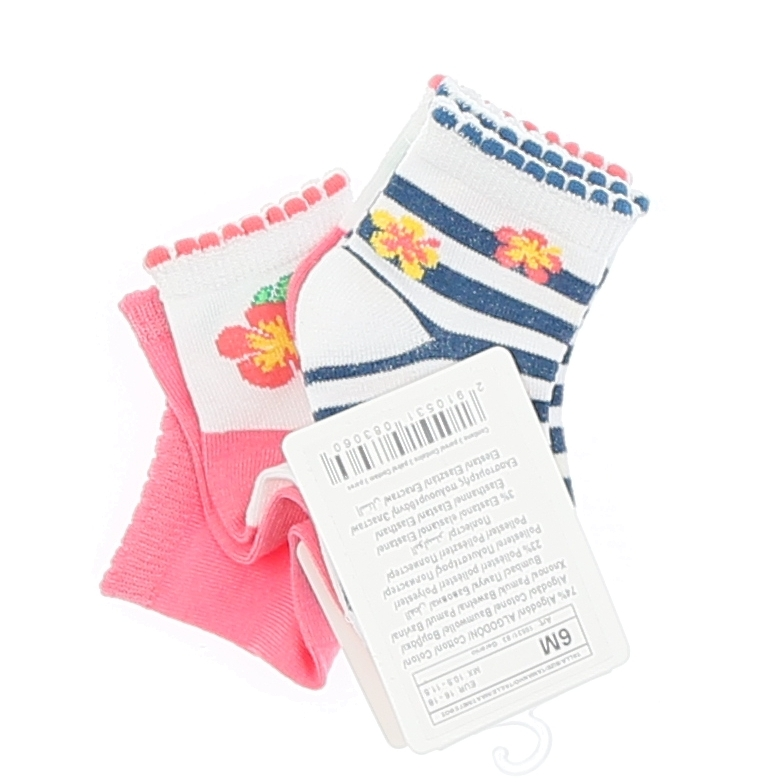 Set 3 Sokken Stripe Pink Whtite