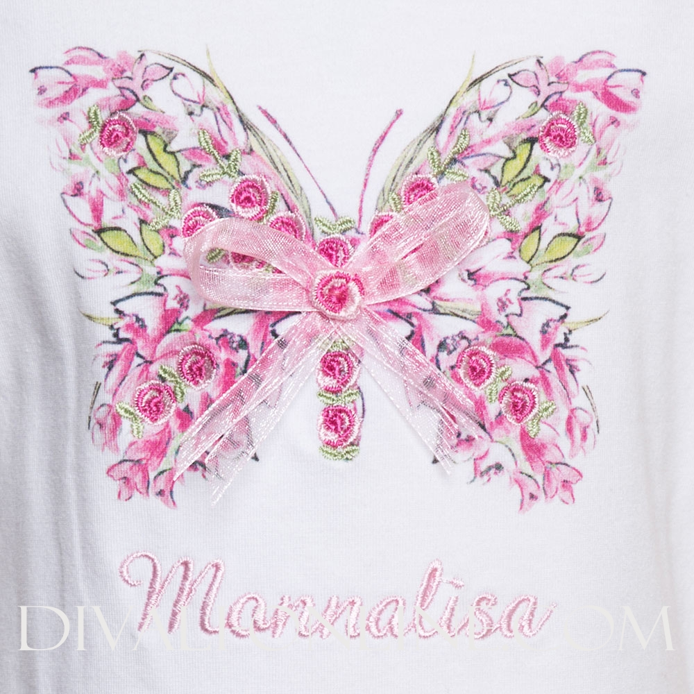 T-shirt Butterfly Pink White