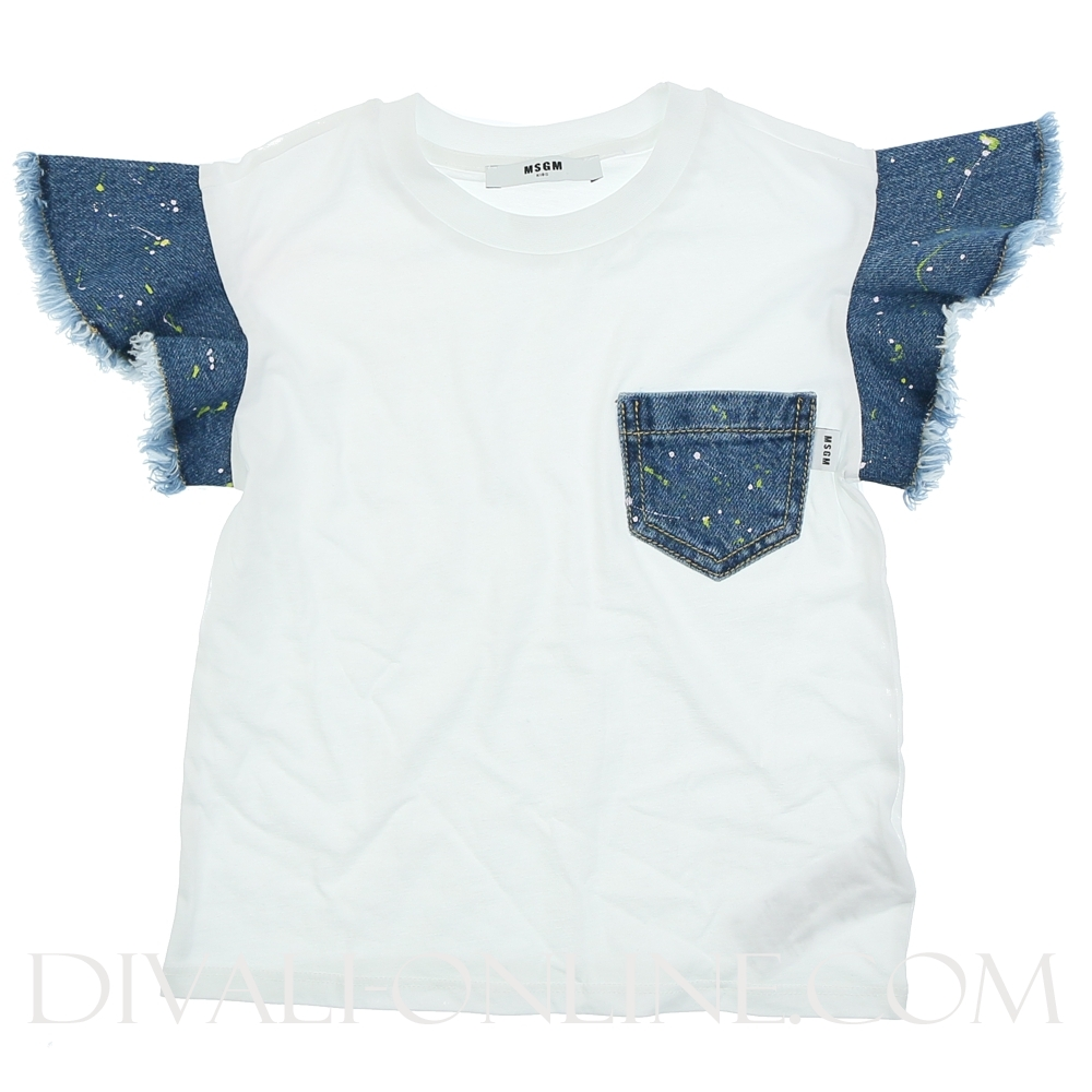 Tshirt Denim Details White