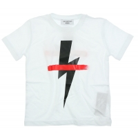Neil Barrett T-Shirt Red Stripe White