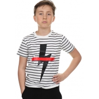 Neil Barrett T-shirt White Black Stripe Thunder