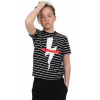 Neil Barrett T-shirt Black White Stripe Thunder