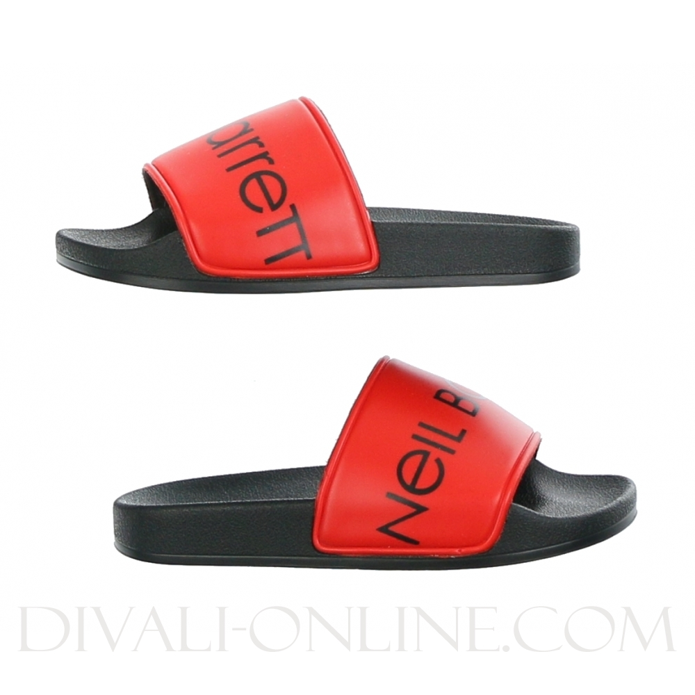 Slippers Black Red Logo