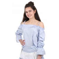 Patricia Pepe Off Shoulder Blouse Stripes