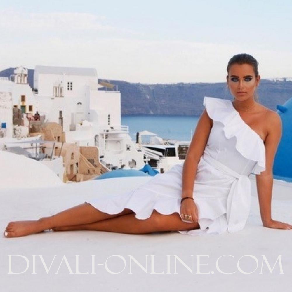 Ruffle Dress White