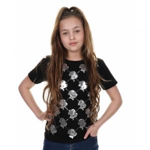 Logo Mania ZWART- ZILVER T-shirt Sequins