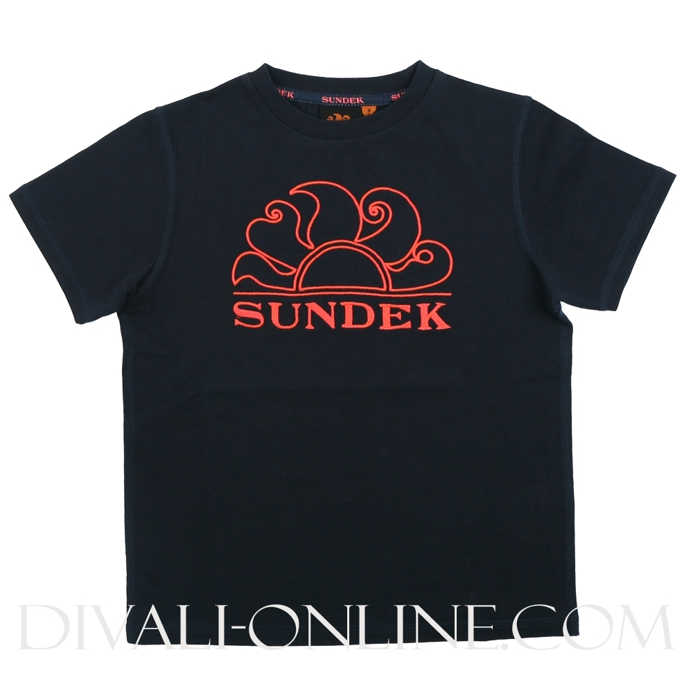 T-Shirt Embroidered Navy Pink