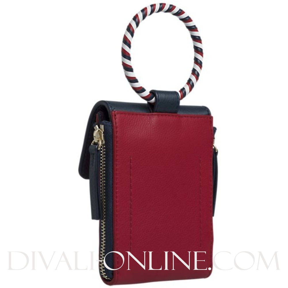 Mini Leather bag red-navy
