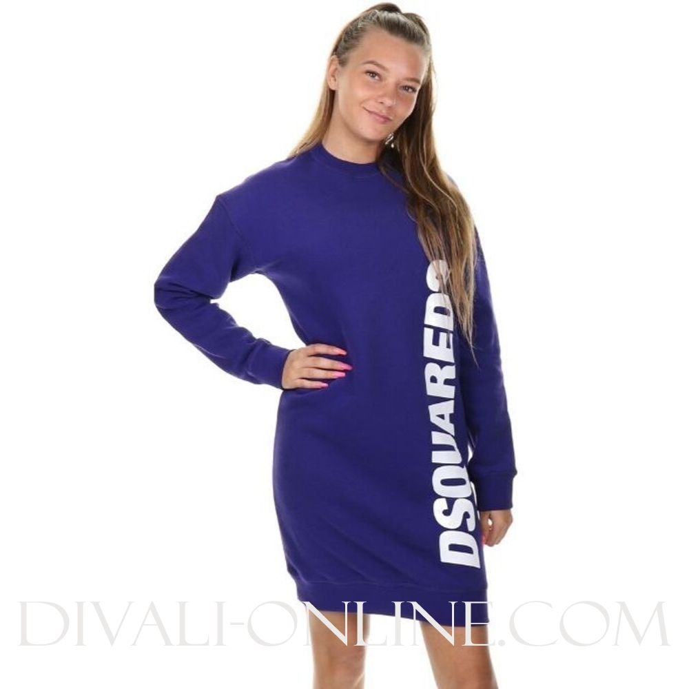 Sweatdress Side logo Bright Purple