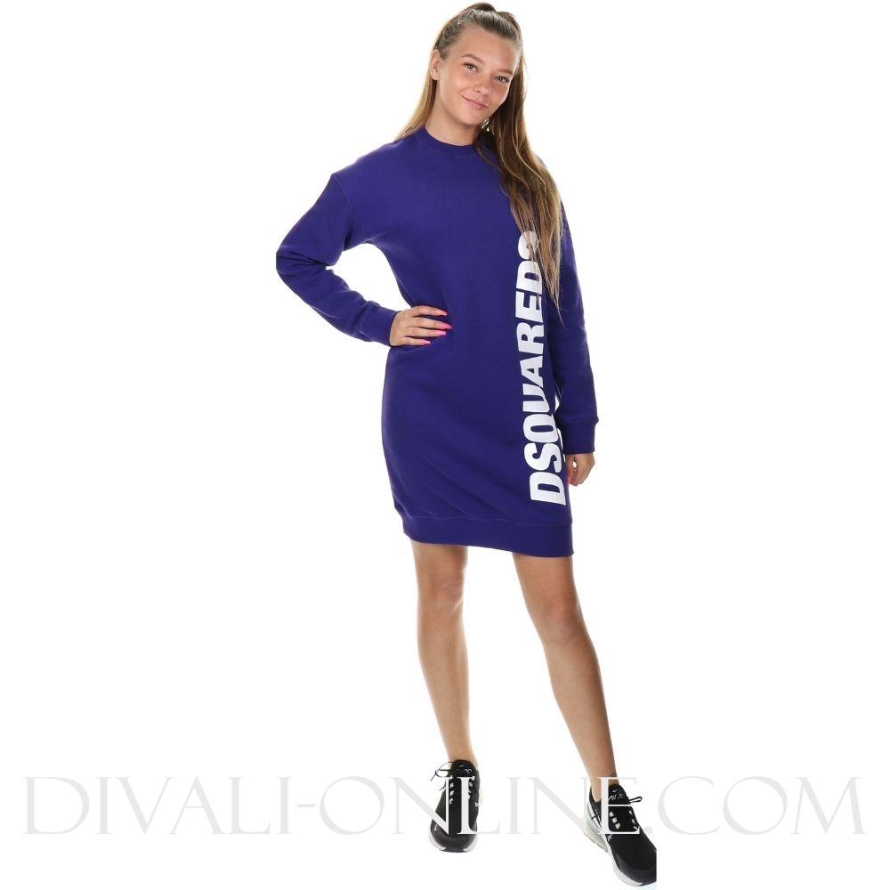 Sweatdress Side logo Bright Purple