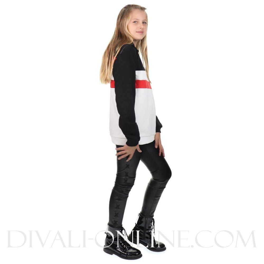 Hoodie Ellanah White-black-red