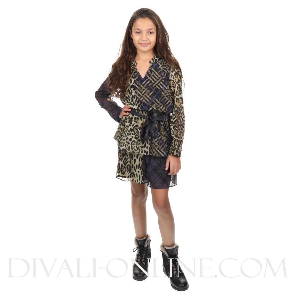 Dress Ruffle Bow Print