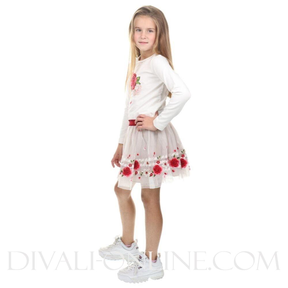 Border tulle skirt red