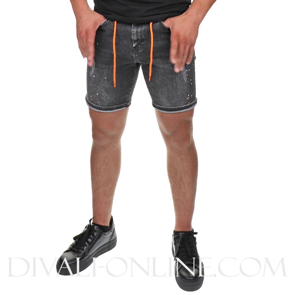 Denim short Painted Grey-orange