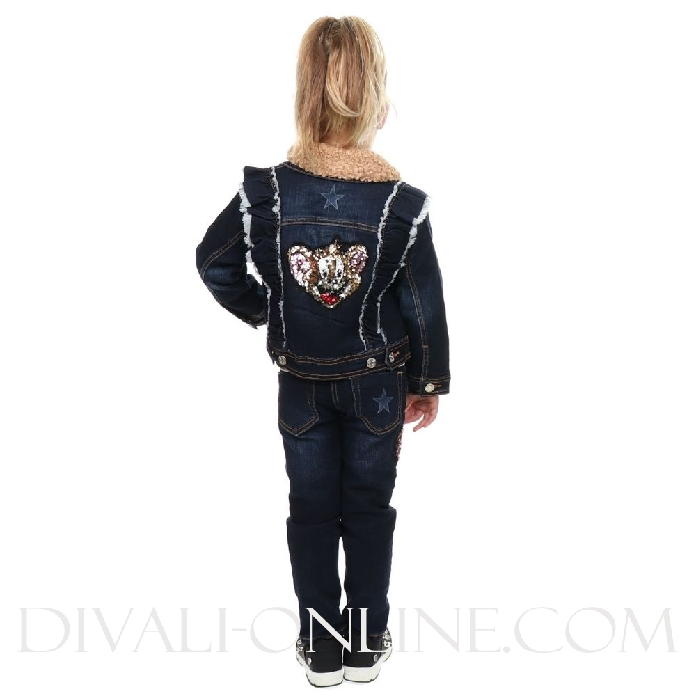 Denim Jacket Stars Faux Fur