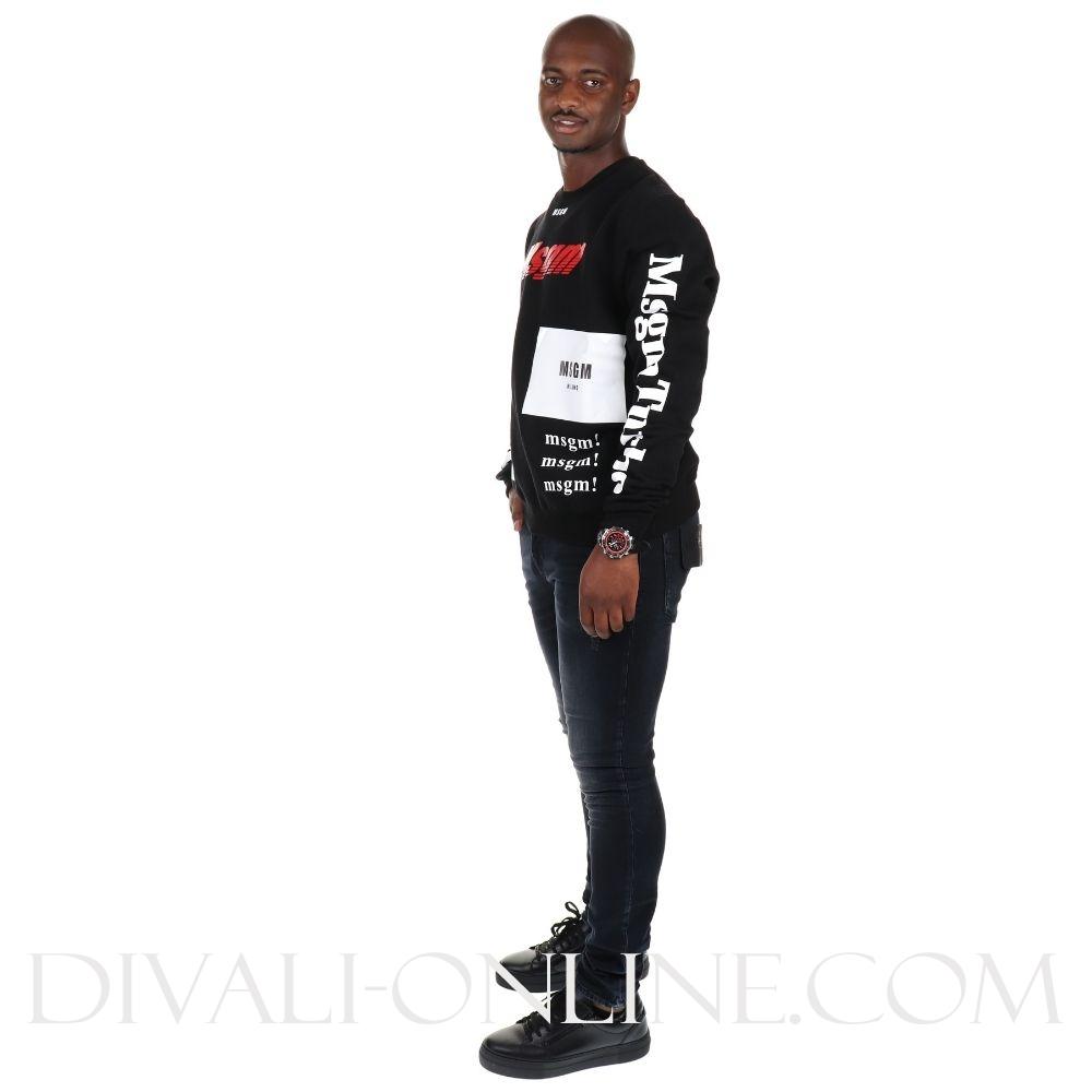 Sweater Allover logo front  Black