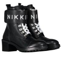 Branded Strap Boot Black/Silver