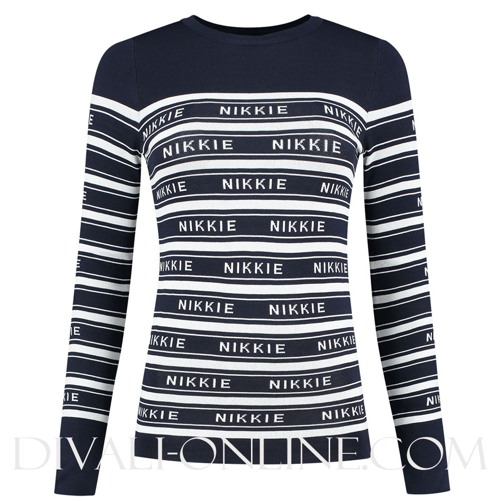 Nikkie Jolie Top Ocean/Optical White