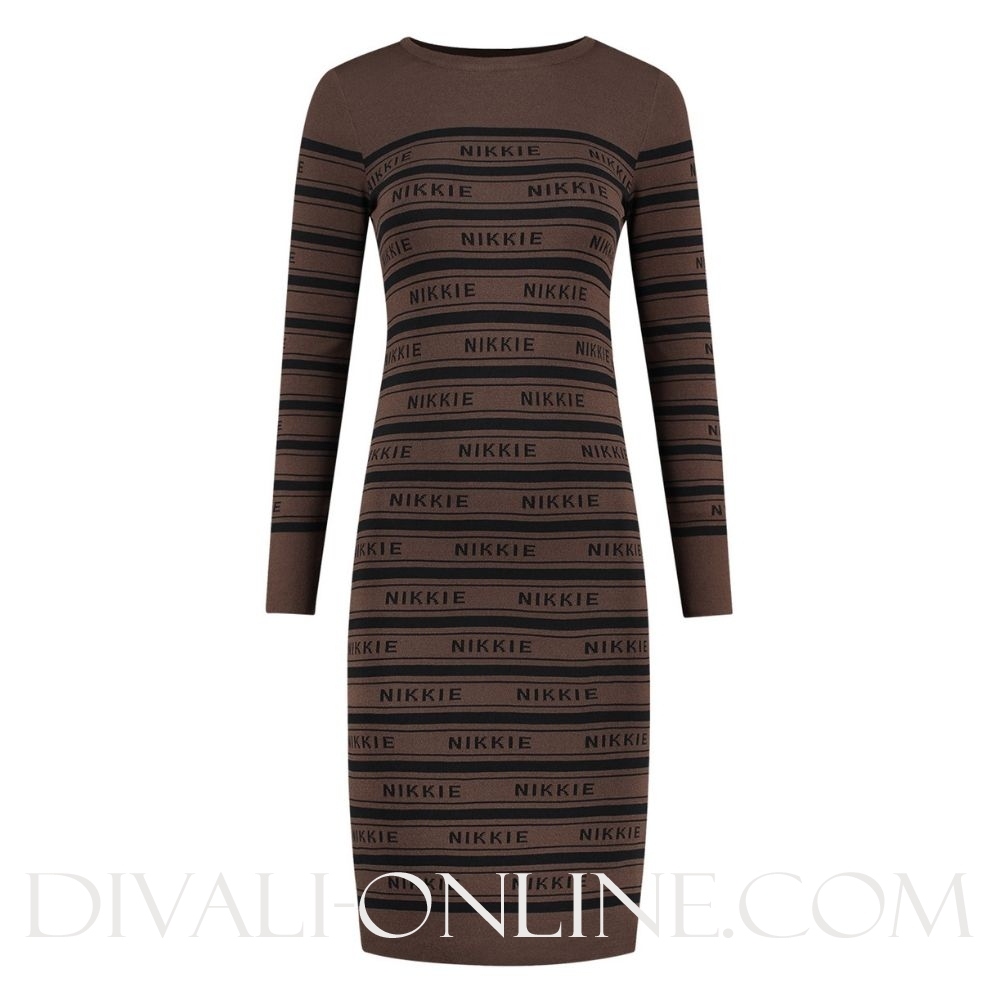 Nikkie Jolie Dress Walnut/Black
