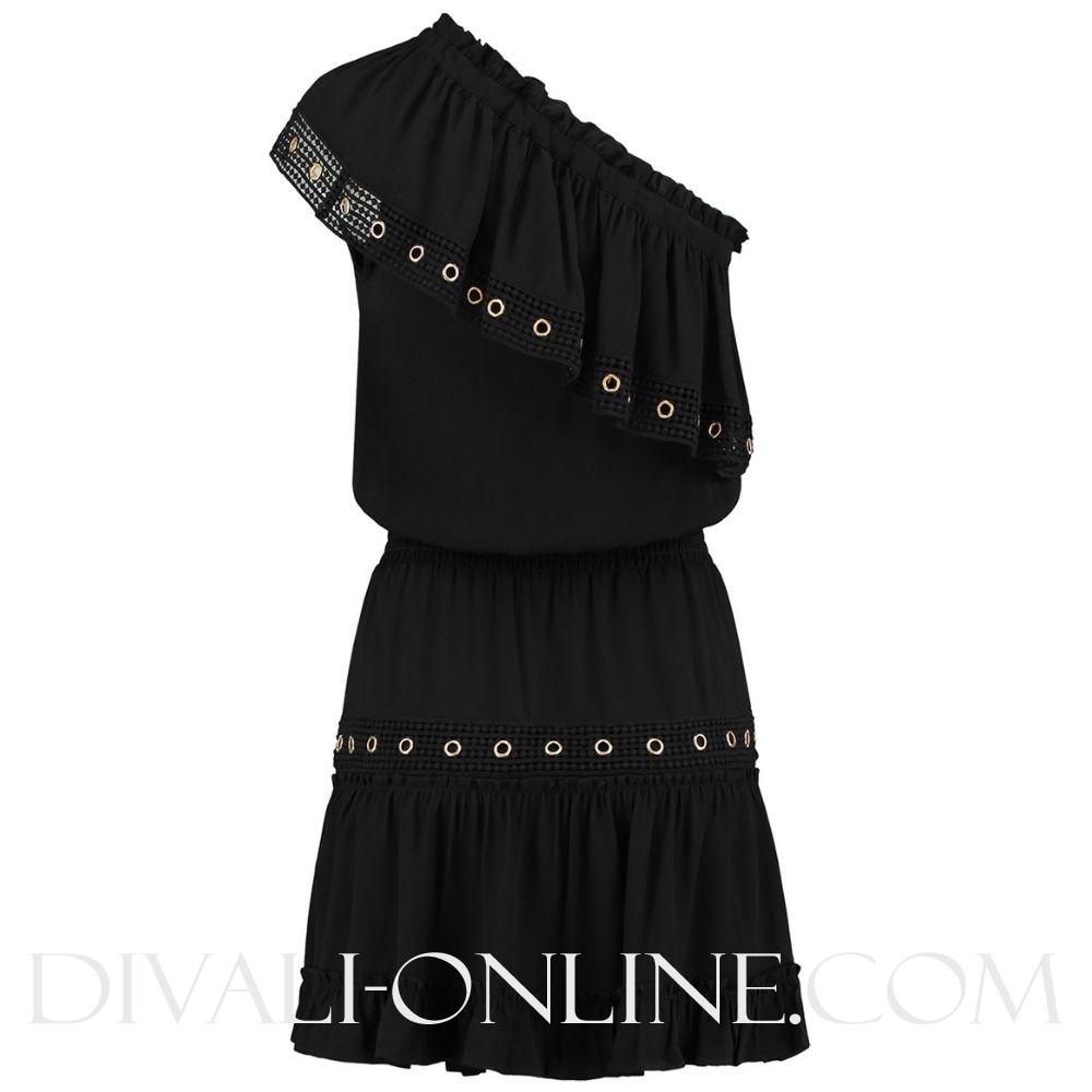 Reza Ruffle Dress Black