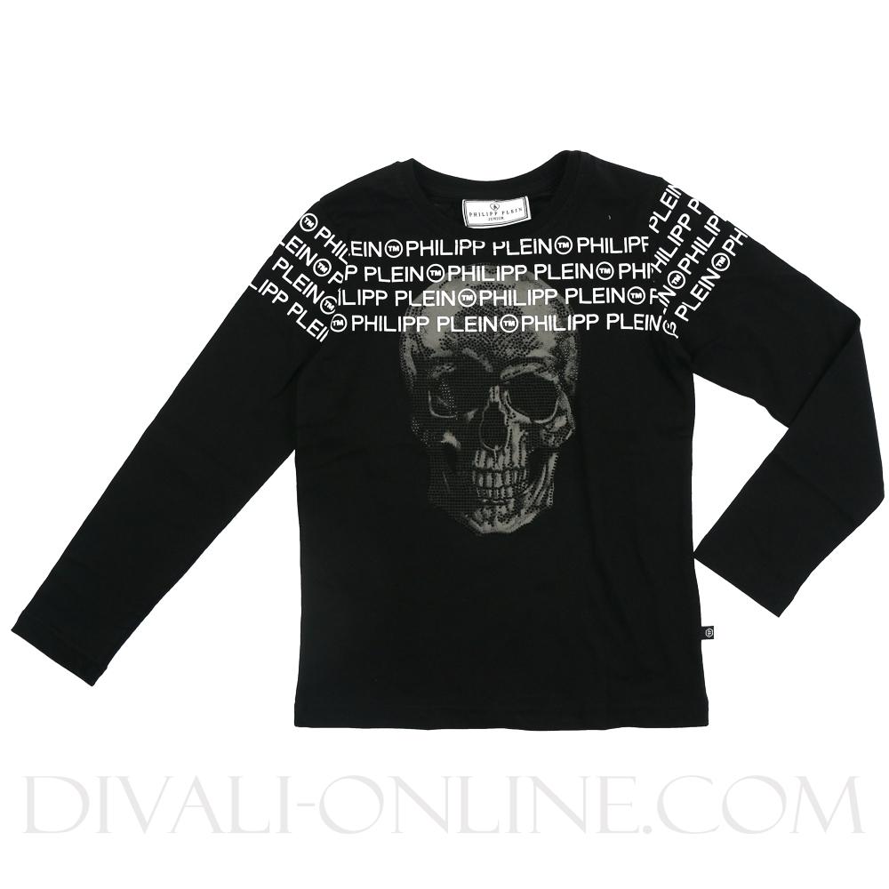 Longsleeve Black Logo Skull Strass