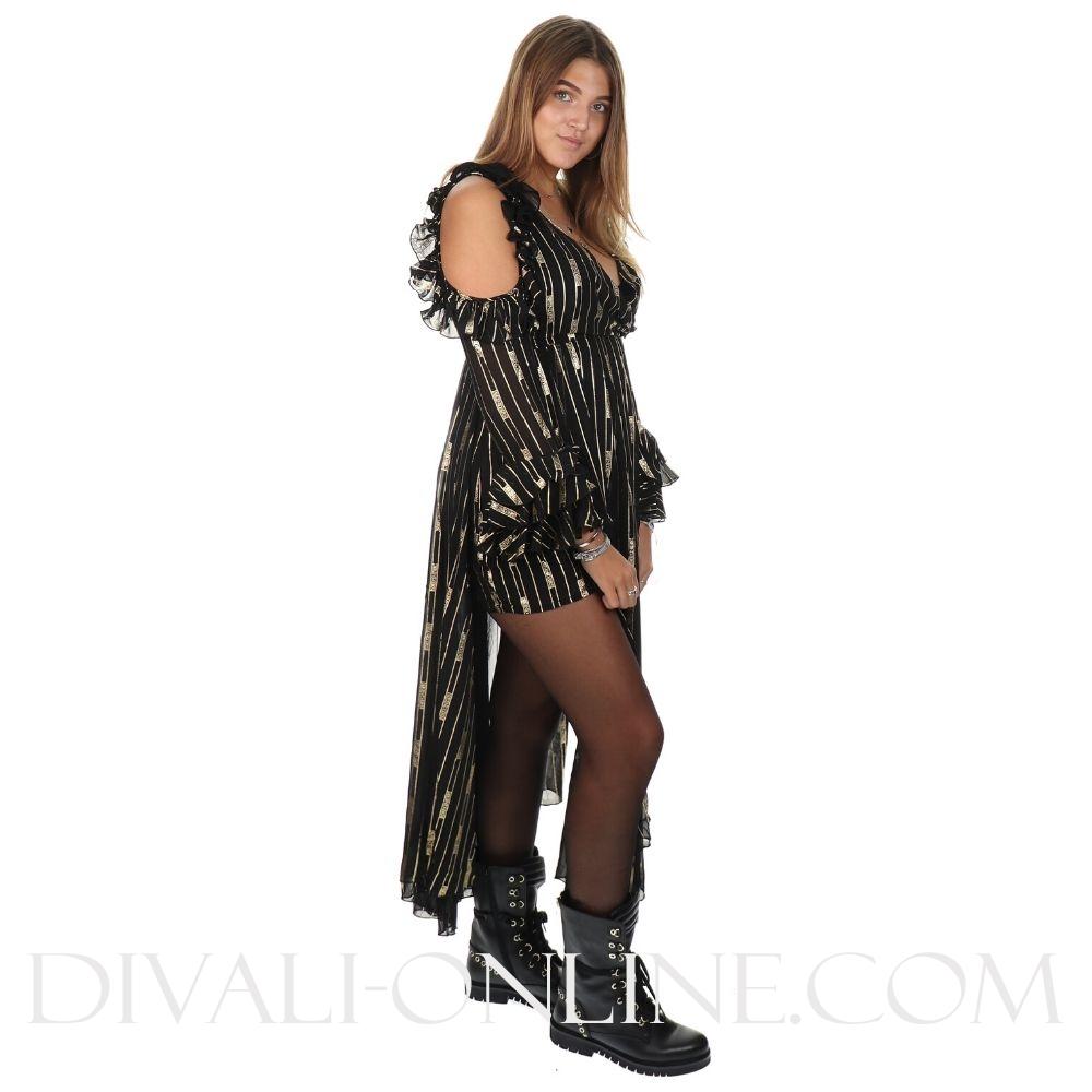 Reinders Dress Ruffles Stripes  GOLD