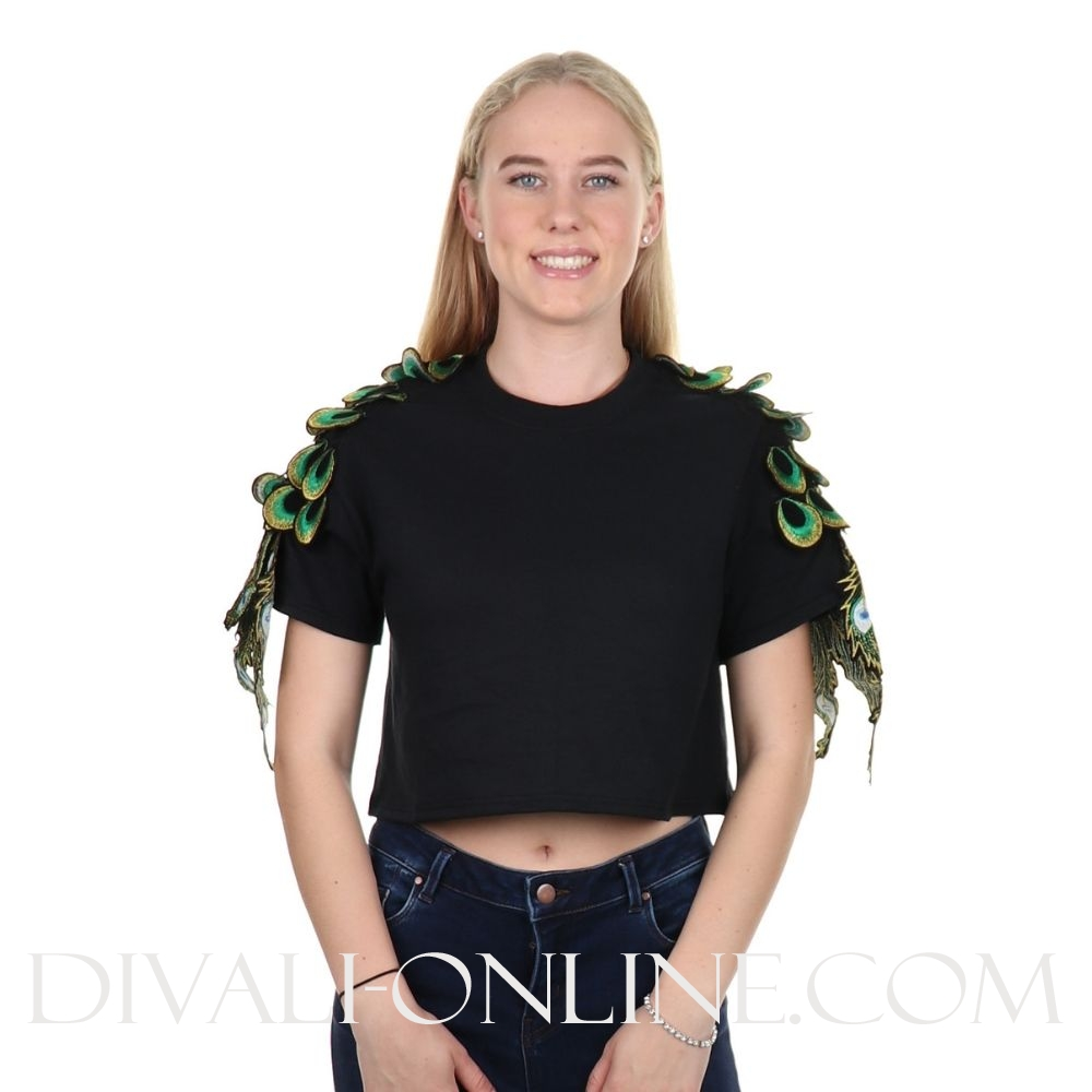 Black croptop peacock