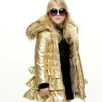 Le Chic Coat Metallic With Ruffles Fields Of Gold