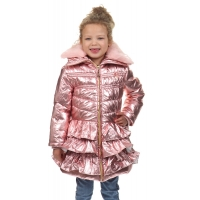 Le Chic Coat Metallic With Ruffles Victorian Pink