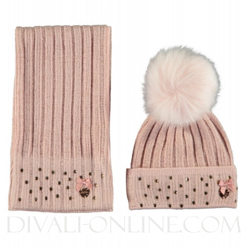 Baby Hat & Scarf Victorian Pink