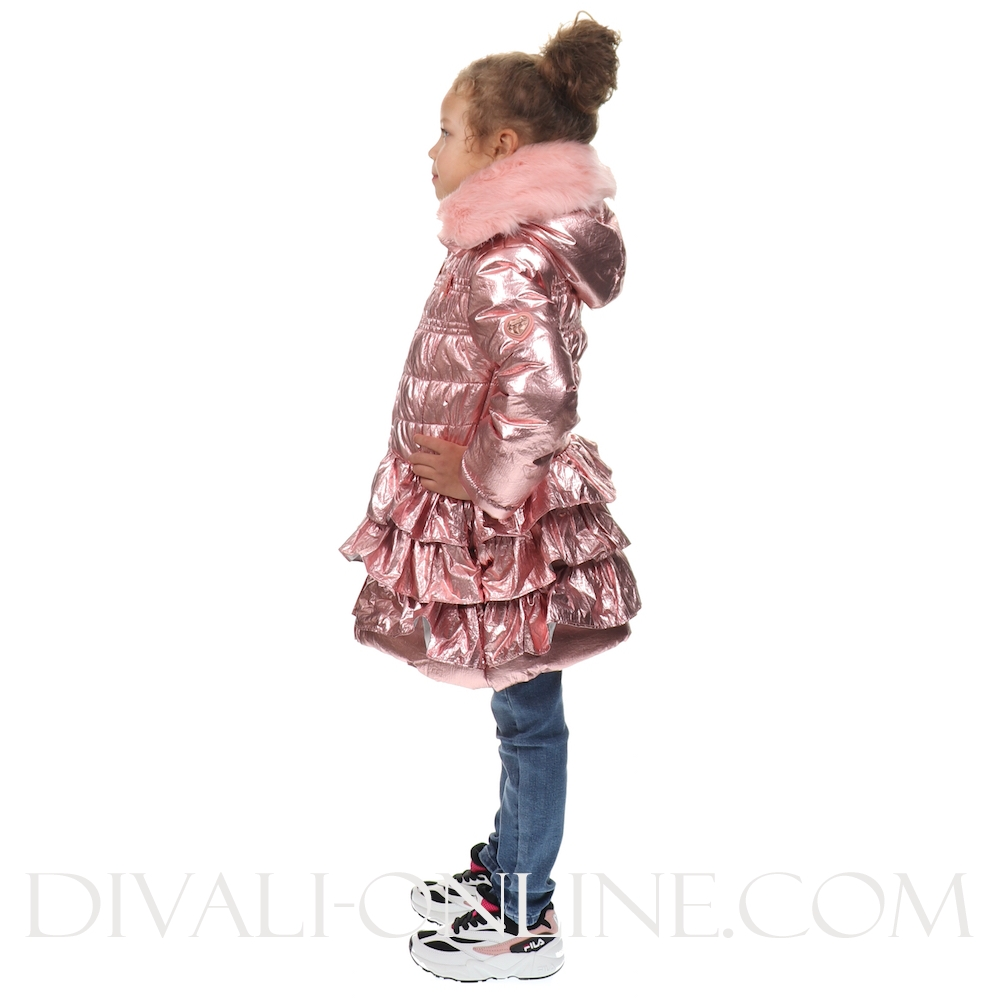 Coat Metallic With Ruffles Victorian Pink