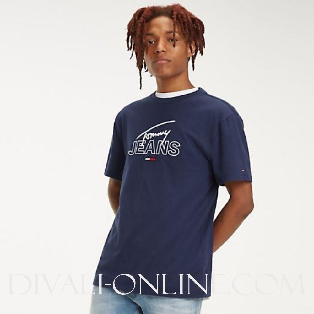 T-shirt Logo Script Blue -Black iris