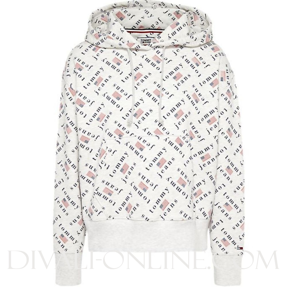 Hoodie Tommy Allover Pale grey