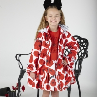 A Dee Poppy Print Hooded Jacket Abella Poppy Red
