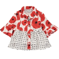 A Dee Poppy Print Denim Jacket Antoinette Poppy Red