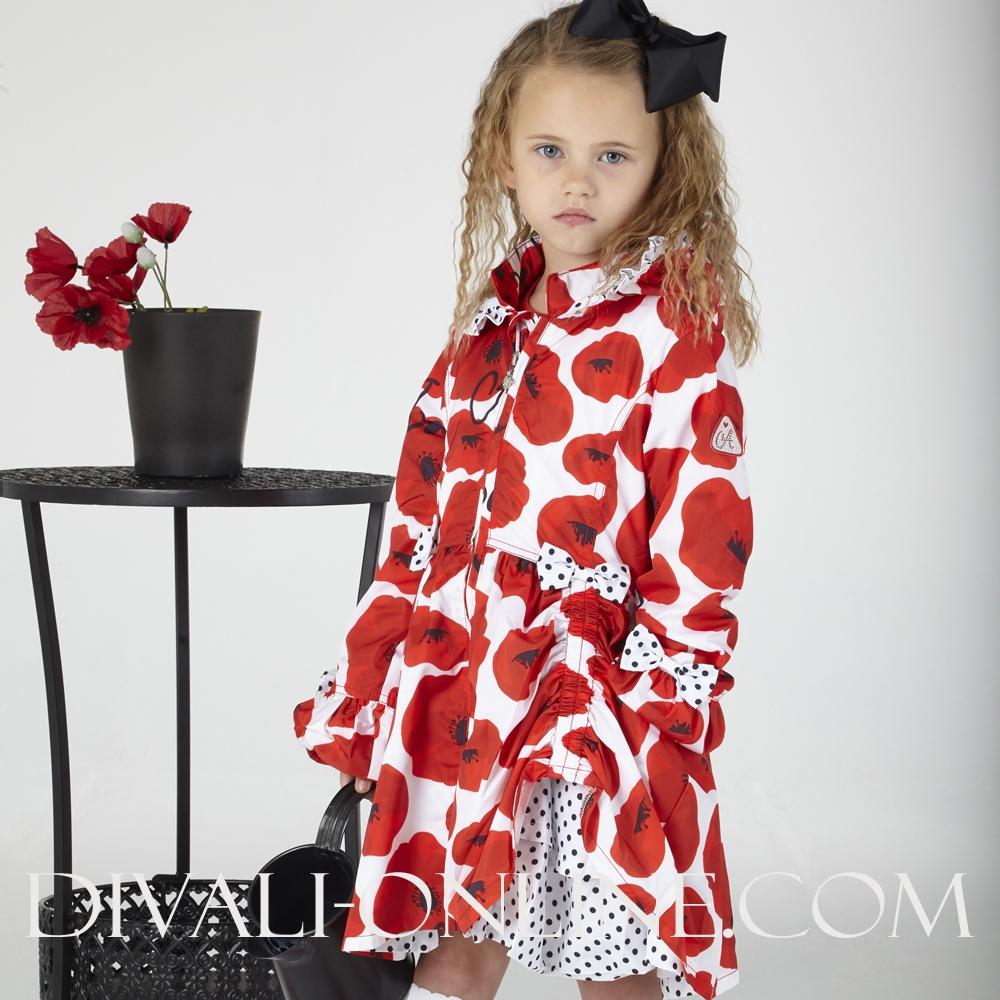 Poppy Print Hooded Jacket Abella Poppy Red